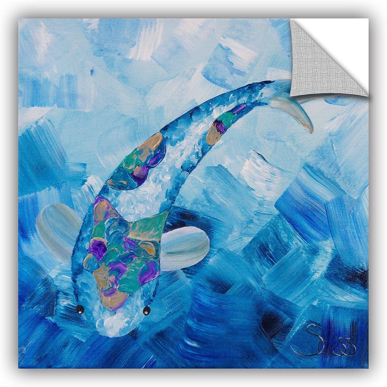 Art Wall 0gos012a1414p Shiela Gosselin's bluee Koi Art Appeelz Removable Wall Art Graphic, 14 by 14-Inch