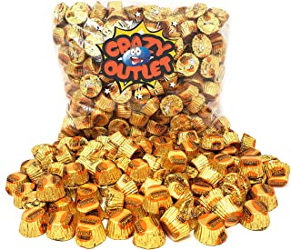 CrazyOutlet Pack - Reese's Miniature Milk Chocolate Peanut Butter Cups, Gold Foil Candy Bulk, 2 lbs