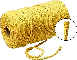 Lieblingsgarn Filani Premium Makramee hilo de algodón 3 mm x 130 metros Single Twist, algodón, mostaza, 130 m x 3 mm