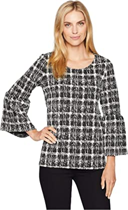 Flare Sleeve Mix Jacquard Top