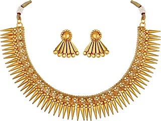 Aheli Gold Tone Bollywood Traditional Necklace Earrings Wedding Party Fashion Jewelry Set for Women
