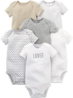 """Simple Joys by Carter""""s Unisex Baby 6-Pack Neutral Short-Sleeve Bodysuit, 6er-Pack"""