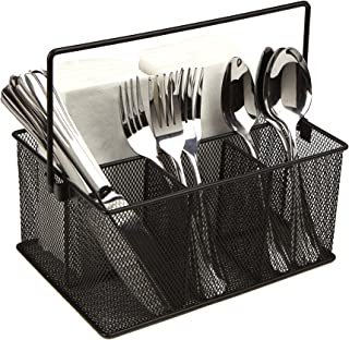 Mind Reader Storage Basket Organizer, Utensil Holder, Forks, Spoons, Knives, Napkins, Perfect for Desk Supplies, Pencil, Pens, Staples