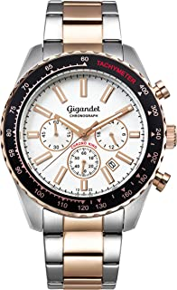 Men's Quartz Watch Chrono King Chronograph Analogue Silver Rosegold G28-009