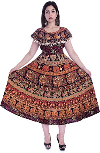 Rajasthani Traditional Women s Cotton Maxi Long Dress Jaipuri Printed with Pumfum Free Size UPTO 44 XXL