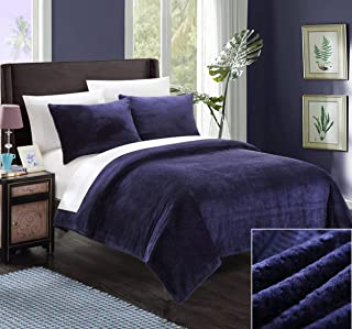Chic Home SB1686-AN 3 Piece Luxembourg Blanket and Shams Set, Full/Queen, Navy