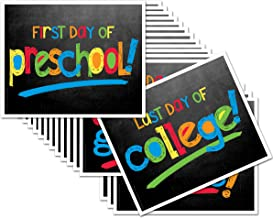 Back to School Signs, 16 Grades Chalkboard First Day of School & Last Day Photo Prop Signs (Primary Text for Boys or Girls)