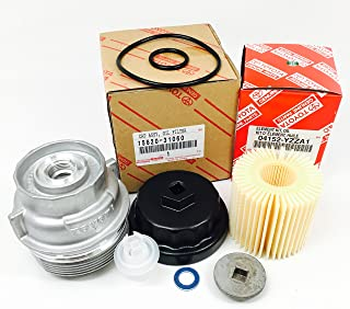 Genuine 04152-YZZA1 oil filter with Genuine 15620-31060 Oil Filter Housing Cap and 15643-31050 Cap Plug includes APSG Wrench and crush washer.