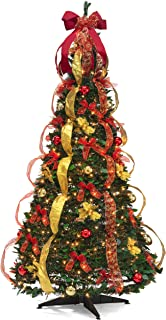 Christmas Tree Fully Decorated Pre-lit 6 Ft Pull Up Pop Up Out of Box Ready Minimal Assembly Needed Christmas Tree Holiday...