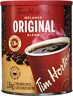 Tim Hortons 100% Arabica Medium Roast Original Blend Ground Coffee, 48 Ounces, 3 Pound Can, Imported from Canada