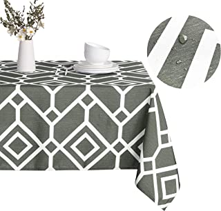 LUSHVIDA Moroccan Rectangle Table Cloth – Washable Water Resistance Microfiber Moroccan Tablecloth Decorative Table Cover for Picnic Banquet Party Kitchen Dining Room, 150 GSM (60 x 84 Inch, Gray)