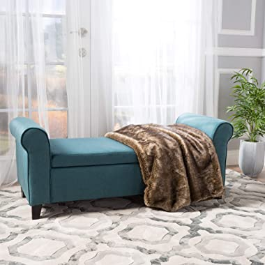 Christopher Knight Home Hayes Armed Fabric Storage Bench, Dark Teal
