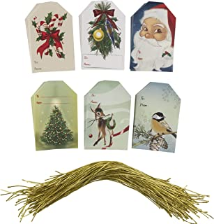 Gift Tags - 120-Pack Christmas Paper Tag with Gold Strings, Craft Hang Label, Gift Wrap Tags for Christmas Holiday Presents, Party Favor, 6 Festive Vintage Christmas Designs, 270 GSM, 2.2 x 3.5 Inches