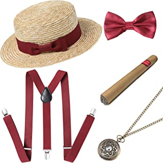 BABEYOND 1920s Mens Gatsby Costume Accessories Set Includes Brim Boater Hat Elastic Y-Back Suspender Pre Tied Bow Tie Pock...