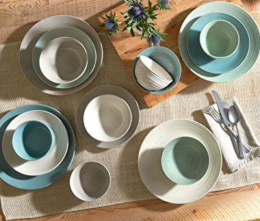 Sango Siterra Artist's Blend 16-Piece Stoneware Dinnerware Set with Round Plates and Bowls, Muticolor