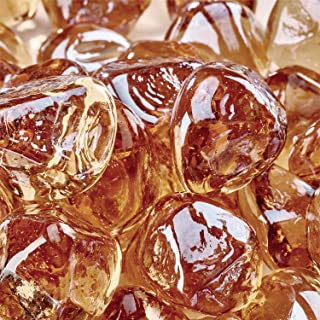 Champagne - Fire Glass Diamonds for Indoor and Outdoor Fire Pits or Fireplaces | 10 Pounds | 1 Inch