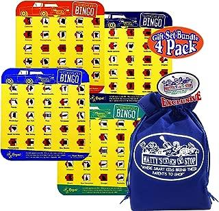 Regal Games Road Trip License Plate Bingo Cards Orange, Blue, Navy & Green Gift Set Travel Bundle with Bonus Matty's Toy Stop Storage Bag - 4 Pack