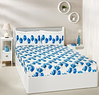 Amazon Brand - Solimo Tulip Twirl 144 TC 100% Cotton Double Bedsheet with 2 Complimentary Pillow Covers - Blue