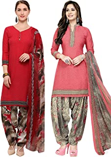 Rajnandini Women's Red and Peach Crepe Printed Unstitched Salwar Suit Material (Combo Of 2) (Free Size)