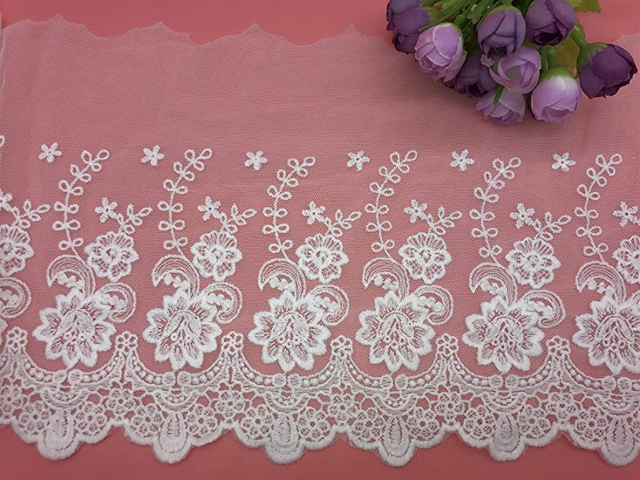 21CM Width Europe Rose Wedding Applique Inelastic Embroidery Lace Trim,Curtain Tablecloth Slipcover Bridal DIY Clothing/Accessories.(2 Yards in one Package) (White)