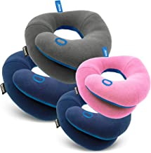 BCOZZY Super Value Family Pack - 2 Adult Travel Pillows- Navy, Gray + 2 Kids' Travel Pillow- Navy, Pink