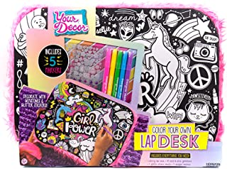 Your Decor Color Your Own Unicorn Girl Power Doodle Lap Desk Kit by Horizon Group USA, Includes 50 Gemstones, Glitter Sticker Sheet & 5 Markers