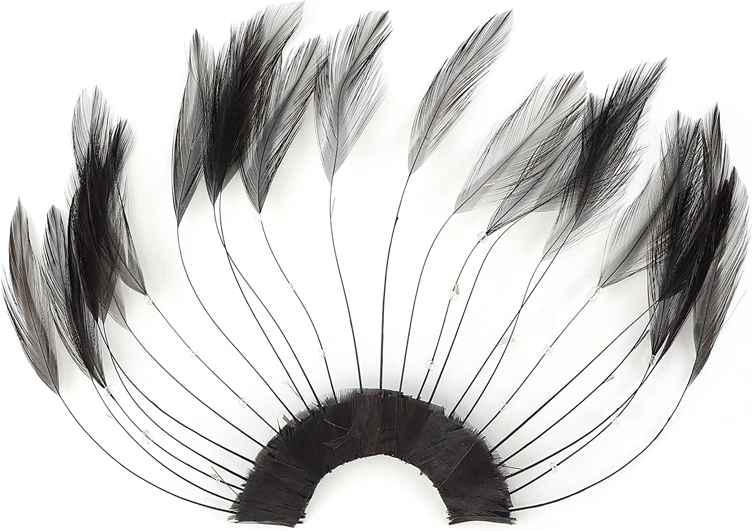 ZUCKER Brown Stripped Hackle Feather Plate- 4 security years warranty 12pcs Craf Millinery