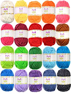 20 Acrylic Yarn Bonbons - 438 Yards Multicolor Yarn in Total - Great Crochet and Knitting Starter Kit for Colourful Craft...