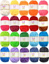 20 Acrylic Yarn Skeins - 438 Yards Multicolored Yarn in Total – Great Crochet and Knitting Starter Kit for Colorful Craft ...