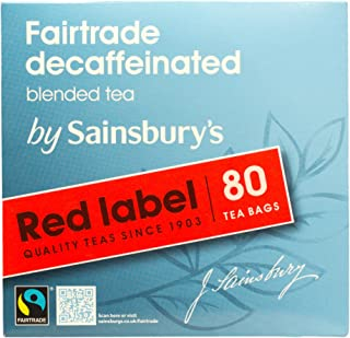 Sainsbury's Decaf Red Label Black Tea 80 Teabags Fairtrade Tea from England