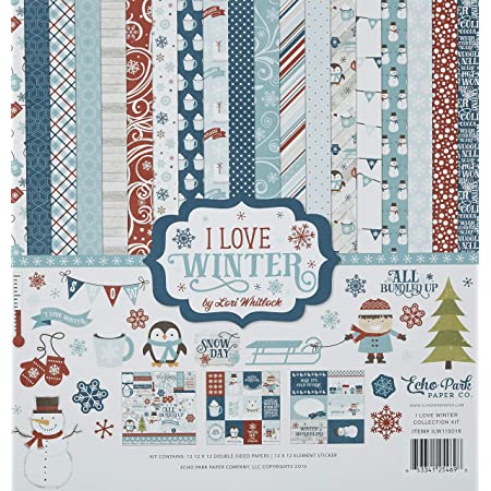 Christmas Winter CLOSING SALE Sweater Weather 12x12 Double Sided Cardstock Echo Park Paper Celebrate Winter