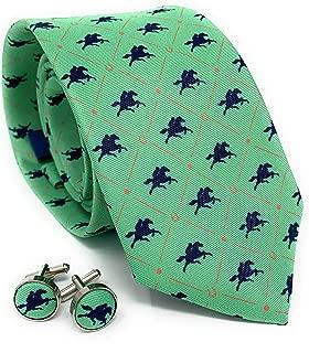 Kentucky Derby Equestrian Mens Silk Tie and Cufflinks Set - Mint and Navy Horses