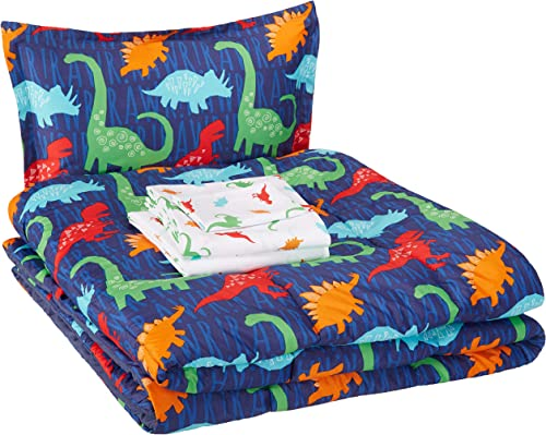 AmazonBasics Easy Care Super Soft Microfiber Kid's Bed-in-a-Bag Bedding Set - Twin, Multi-Color Dinosaurs