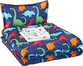 AmazonBasics Easy-Wash Microfiber Kid's Bed-in-a-Bag Bedding Set - Twin, Multi-Color Dinosaurs