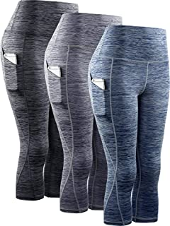 Neleus Women's Yoga Capris Tummy Control High Waist Workout Pants