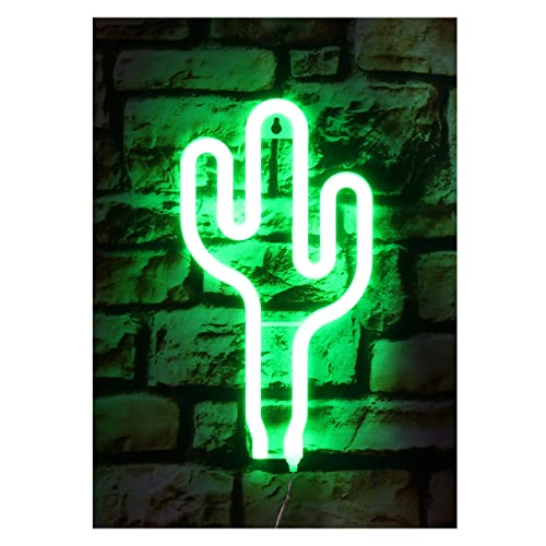 Cactus 3D Neon Night Lights Wall Light,USB Cable / Batteries Powered for Nursery,