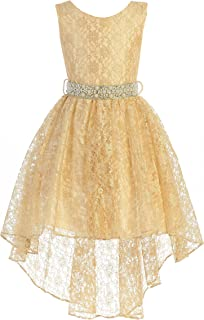 High Low Lace Dress with Rhinestones Belt Pageant Flower Girl Dress Size 2-20