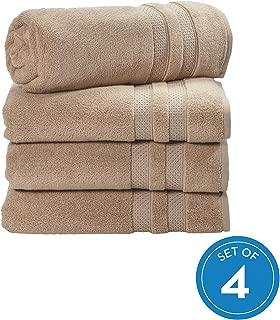 iDesign Spa Bath Hanging Loop, 100% Cotton Soft Absorbent Machine Washable Body Towel for Bathroom, Gym, Shower, Tub, Pool, Set of 4, Linen