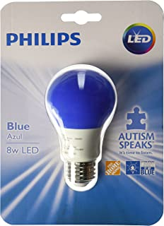 Philips 60 Watt Equivalent Medium Base A19 Non-Dimmable Instant On Autism Speaks LED Blue Light Bulb