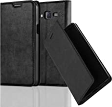 Cadorabo Book Case Works with Samsung Galaxy J7 2015 in Night Black – with Magnetic Closure, Stand Function and Card Slot – Wallet Etui Cover Pouch PU Leather Flip