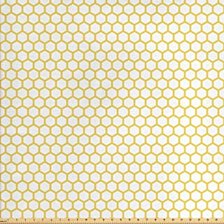 Ambesonne Yellow and White Fabric by The Yard, Hexagonal Pattern Honeycomb Beehive Simplistic Geometrical Monochrome, Decorative Fabric for Upholstery and Home Accents, 1 Yard, White Yellow