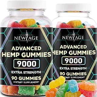 New Age Naturals Advanced Hemp Gummies 9000 Extra Strength- 2 Pack - 180ct - Natural Hemp Oil Gummies - Vegetarian, Non GMO
