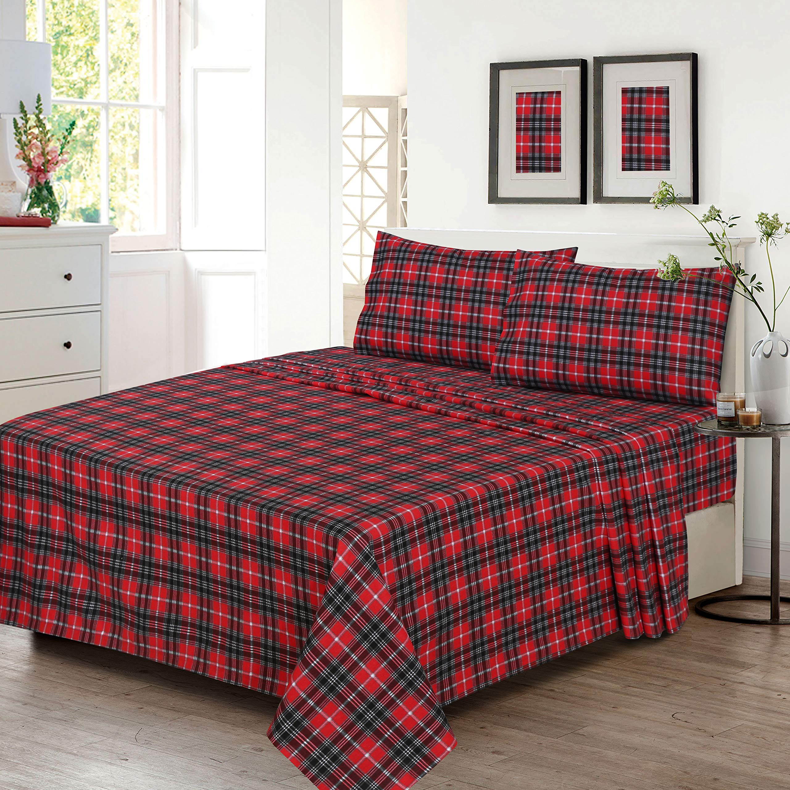 Amazon Com Ruvanti 100 Cotton 4 Pcs Flannel Sheets Cal King Deep Pocket Warm Super Soft Breathable California King Size Flannel Bed Sheets Set Include Flat Sheet Fitted Sheet 2 Pillow Cases Red Christmas