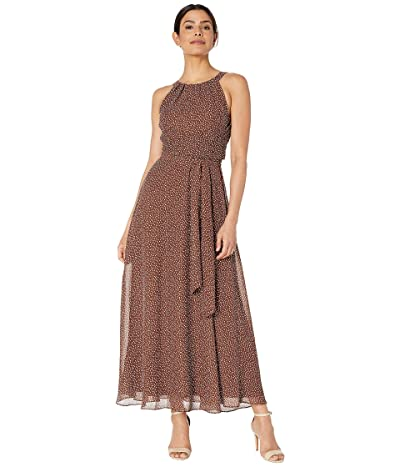 Adrianna Papell Darling Dot Halter Maxi Dress (Brown/Ivory) Women