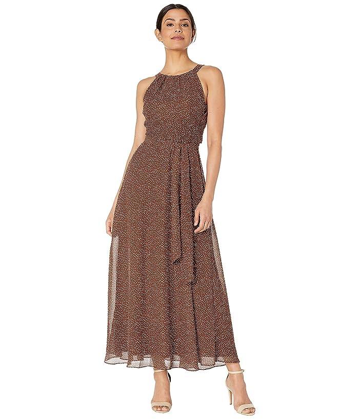 Adrianna Papell Darling Dot Halter Maxi Dress (Brown/Ivory) Women