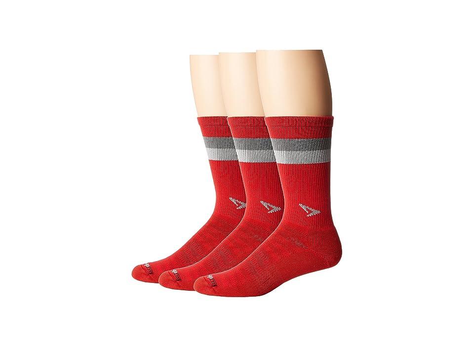 Drymax Sport Run Lite-Mesh Crew 3-Pack (Torrid Red/Anthracite/Gray Stripes) Crew Cut Socks Shoes