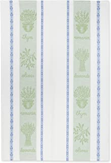 COUCKE French Jacquard Cotton Kitchen Dish Towel French Table Collection, Herbes (Herbs) FB, 20-Inches by 30-Inches, Sage