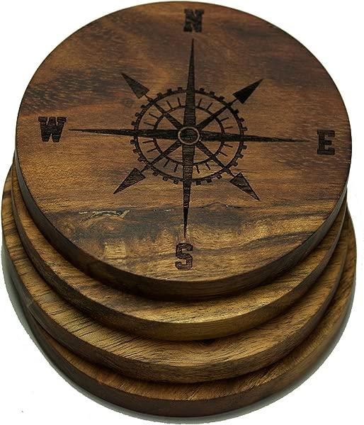 罗盘玫瑰 V2 航海饮料杯垫多种设计雕刻金合欢木设计四件套
