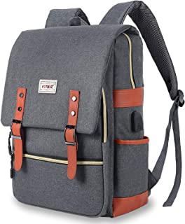 NOKEA Slim Travel Laptop Backpack With USB Charging Port, Anti Theft Business Water Resistant College School BookBag Computer Bag for Girls and Boys Fits 15.6 In Laptop, Macbook (Grey)