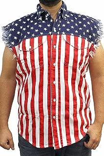 Men's USA Flag Sleevless Denim Shirt Biker USA (XL)